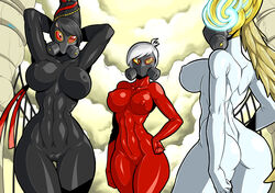 3girls ass bayonetta bayonetta_(character) breasts gas_mask jeanne joy_(bayonetta) looking_at_viewer mad-project tagme
