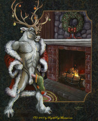 2007 abs antlers christmas clothing erection fireplace holidays hooves horn legwear rog_minotaur santa_claus smile solo stockings