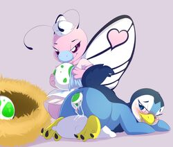 2017 beak blush butterfree camychan clothed clothing duo egg female feral hi_res looking_back nintendo nurse oviposition piplup pokemon pussy pussy_juice simple_background video_games wings