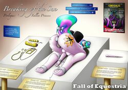 2017 alicorn anal anthro anthrofied bondage bondage bound broken_horn buttplug changeling dildo english_text equine fall_of_equestria female friendship_is_magic horn mammal my_little_pony ponkpank poster princess_celestia_(mlp) pussy queen_chrysalis_(mlp) sex_toy text vaginal_penetration wings