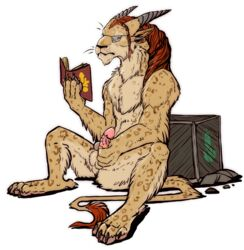 anthro barbed_penis book box charr digital_media_(artwork) eyewear feline fur glasses guild_wars horn mammal masturbation nude penis rait reading solo spread_legs spreading testicles video_games
