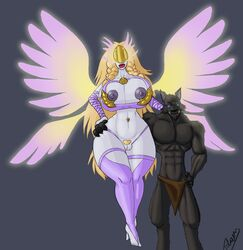 angel anthro big_breasts big_pussy bimbeaux bimbeaux_the_reborn_(character) black_fur blonde_hair breasts canine dalrus dalrus_plaguefang dalrus_plaguefang_(character) fur hair hand_on_waist invalid_tag mammal muscular nipples nude plaguefang pussy rogue tolarean_(artist) val'kyr video_games warcraft were werewolf worgen