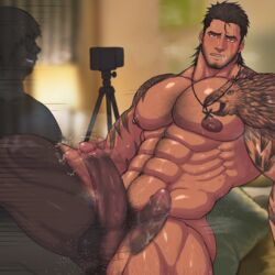 2boys abs ahe_gao anal ass_juice bara beard bed bedroom blush body_hair brown_hair camera cum drooling erection facial_hair final_fantasy final_fantasy_xv gladiolus_amicitia large_penis male_focus multiple_boys muscle nipples nude pecs penetration penis phone pillow pubic_hair recording saliva scar sex sitting steam sweat tattoo teeth testicles thrusting toto_(artist) x-ray yaoi