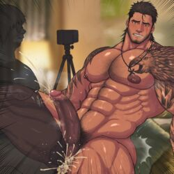 2boys abs anal bara beard bed bedroom blush body_hair brown_hair camera cum cum_in_ass cum_on_body cum_while_penetrated drooling ejaculation erection facial_hair final_fantasy final_fantasy_xv gladiolus_amicitia large_penis male_focus multiple_boys muscle nipples nude orgasm pecs penetration penis phone pillow pubic_hair recording saliva scar sex sitting steam sweat tattoo teeth testicles thrusting toto_(artist) yaoi