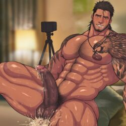 1boy abs after_sex anal bara beard bed bedroom blush body_hair brown_hair camera cum cum_in_ass cum_on_body cumdrip drooling erection facial_hair final_fantasy final_fantasy_xv gladiolus_amicitia large_penis male_focus muscle nipples nude pecs penis phone pillow pubic_hair recording saliva scar sitting smile solo solo_focus steam sweat tattoo teeth testicles toto_(artist) yaoi