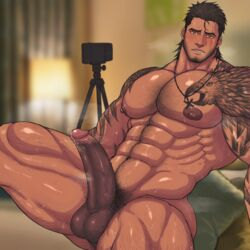 1boy abs bara beard bed bedroom blush body_hair brown_hair camera cum drooling erection facial_hair final_fantasy final_fantasy_xv gladiolus_amicitia large_penis male_focus muscle nipples nude pecs penis phone pillow pubic_hair recording saliva scar sitting solo steam sweat tattoo teeth testicles toto_(artist)