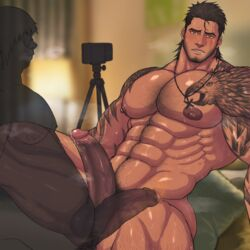 2boys abs bara beard bed bedroom blush body_hair brown_hair camera cum drooling erection facial_hair final_fantasy final_fantasy_xv gladiolus_amicitia large_penis male_focus multiple_boys muscle nipples nude pecs penis phone pillow pubic_hair recording saliva scar sitting steam sweat tattoo teeth testicles toto_(artist) yaoi