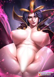 1girl anus artist_name ass belly big_breasts black_boots black_shoes boots breasts cape censored clavicle female female_only footwear gdecy hair_ornament high_collar high_resolution hips jewelry large_breasts league_of_legends leblanc legs long_hair looking_at_viewer magic mosaic_censoring navel nipples nude parted_lips partially_visible_anus partially_visible_vulva patreon patreon_logo patreon_username pelvic_curtain purple_hair revealing_clothes shoes solo spread_legs stomach tagme thigh_boots thighhighs thighs web_address yellow_eyes