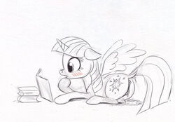 2017 alicorn anus ass black_and_white blush book cutie_mark el-yeguero equine female feral friendship_is_magic hair horn mammal monochrome my_little_pony pussy pussy_juice simple_background solo twilight_sparkle_(mlp) white_background wing_boner wings