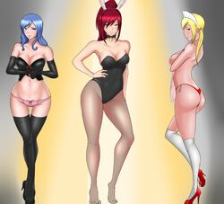 3girls analcapral breasts bunny_ears bunnygirl bunnysuit cleavage erza_scarlet fairy_tail female female_only high_heels juvia_lockser looking_at_viewer lucy_heartfilia panties thighhighs