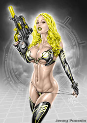 1girl actress armando_huerta bare_shoulders belly blonde blonde_hair bra breasts celebrity cleavage colored covered_breasts elbow_gloves eyelashes female female_only fingerless_gloves gloves gun hips holding_gun holding_weapon large_breasts legs legwear long_hair looking_at_viewer midriff model navel navel_piercing panties piercing porn_star pornstar sniper_rifle solo stockings tagme thighhighs thighs weapon yellow_eyes