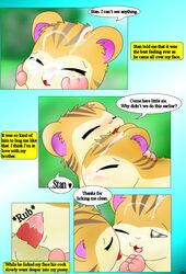 blush brother brother_and_sister comic cum cum_on_face curby cute dialogue english_text female fur hamster hamtaro_(series) incest licking male male/female mammal messy open_mouth orange_fur penetration penis pussy rodent sandy_(hamtaro) sex sibling sister stan_(hamtaro) striped_fur stripes tapering_penis text tongue tongue_out twins vaginal_penetration vaginal_penetration
