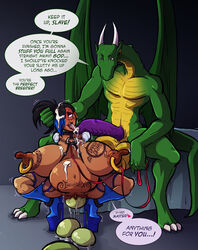 anthro balls big_balls big_breasts big_penis body_writing breasts clitoris clitoris_piercing collar crouching cum cum_in_hair cum_on_chest cum_on_tongue dialogue domination dragon duo egg eggs english_text erection female genital_piercing horn huge_balls huge_breasts human human_on_anthro interspecies leash male male_domination mammal need_to_breed nipple_piercing nipples overweight oviposition penis piercing pregnant pussy pussy_piercing smile sparrow straight tattoos text tongue tongue_out wings