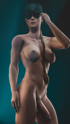 1girl 2017 3d 5_fingers abs absurdres areolae balls biceps big_breasts big_penis blonde_hair blush braid breasts dickgirl erection female female_only futanari glasses hands hat human intersex large_breasts lips long_hair milf mortal_kombat mortal_kombat_x mother netherrealm_studios nipples nose nude penis sfmporn shiny shiny_skin solo sonya_blade source_filmmaker standing stomach sunglasses testicles tied_hair
