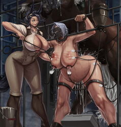 2girls animal_ears balls black_hair boots branding breasts cum cum_inflation cum_inside horse horsecock inflation laquadia_(legend_of_queen_opala) legend_of_queen_opala milk milking monocle nipples overflow restrained saliva sex smile sweat tagme testicles xxoom zoophilia zweibelle_(legend_of_queen_opala)