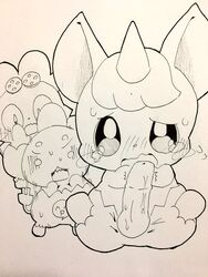 2017 animal_genitalia animal_penis anthro balls big_penis black_and_white blush cocotama crying embarrassed equine_penis erection female geracho group hairband himitsu_no_cocotama horn looking_at_viewer male monochrome motion_lines open_mouth oshaki penis raichi_(cocotama) scared simple_background sketch solo_focus spread_legs spreading sweat tatwuyan tears traditional_media_(artwork) white_background