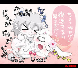 anthro anthro_on_anthro anus balls bite blush closed_eyes cum cum_in_pussy cum_inside duo ear_biting erection feline female flower granite_(jewelpet) hare japanese_text jewelpet jewelry lagomorph lion male male/female mammal necklace open_mouth penetration penis plant pussy ruby_(jewelpet) sanrio sex text vaginal_penetration vaginal_penetration white_lion 前期@原稿中