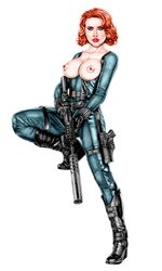 1girl actress armando_huerta avengers belt black_widow black_widow_(marvel) blue_eyes bodysuit boots breastless_clothing breasts breasts_out celebrity colored eyelashes female female_only gauntlets gloves gun holding_gun holding_weapon human large_breasts legwear long_hair looking_at_viewer marvel marvel_comics natasha_romanoff nipples pussy red_hair scarlett_johansson shoes short_hair sniper_rifle solo solo_female standing tagme thigh_boots torn_clothes weapon
