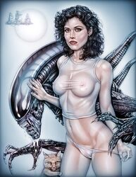 1girl actress alien alien_(franchise) alien_(movie) aliens_vs_predator animal_ears armando_huerta belly black_hair black_skin breasts brown_eyes cat cat_ears celebrity claws colored colorization covered_breasts covered_nipples drooling ellen_ripley erect_nipples erect_nipples_under_clothes eyelashes fangs female fur green_eyes high_resolution hips large_breasts legs light-skinned light-skinned_female long_hair looking_at_viewer mammal midriff monster mound_of_venus navel nekomimi nipples paipan panties pantsu panty_pull saliva see-through see_through_clothes shaved sigourney_weaver slime stripping tagme tank_top thighs transparent_clothes underwear undressing xenomorph