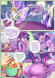 2017 absurd_res alcor90 alicorn anon ass blush carrot closed_eyes clothed clothing comic cutie_mark dialogue dock duo english_text equine female feral food footwear friendship_is_magic hair hi_res hooves horn human inside long_hair magic mammal my_little_pony open_mouth potato pussy_juice shoes sweat text twilight_sparkle_(mlp) underhoof vegetable wings