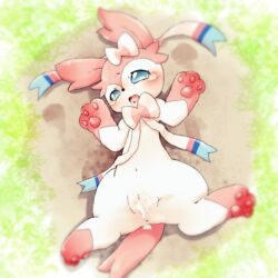 1girl after_sex anus black_nose blue_eyes blue_fur blush bow censored crying cum cum_in_pussy cum_inside digital_media_(artwork) drooling eeveelution female feral fur furry grass ineffective_censorship kemono long_ears looking_away lying mammal mosaic_censorship multicolored_fur navel nintendo on_back open_mouth outside paws pink_fur pokemon pokemon_xy pussy sakaeguchi_okarina saliva solo spread_legs spreading straight sylveon tears tongue video_games white_fur