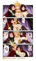 !? 3girls ahoge anger_vein angry arm_around_neck artist_name bangs black_hair blonde_hair blush breasts cape cloak comic curtains dual_persona electricity fingering full-face_blush groping hair_between_eyes hand_on_ass hand_on_breast hand_over_own_mouth hands_over_mouth heart incest long_hair long_sleeves moaning multiple_girls nipples o_o open_mouth prosthetic_arm purple_eyes ruby_rose rwby saliva sequential short_hair siblings silver_eyes sisters smile spoken_anger_vein spoken_exclamation_mark spoken_heart sweat swept_bangs tank_top tears text tongue tongue_out wavy_hair yang_xiao_long yuri yuriwhale