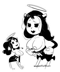 alice_angel bendy_and_the_ink_machine blushing breasts cleavage female horns lipstick long_hair nipples sniggy solo