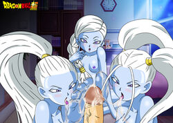 3girls alien blue_skin cum cus dragon_ball_super female marcarita multiple_females nipples penis pigtails purple_eyes tagme tongue_out vados white_hair