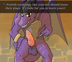 2017 animal_genitalia armor balls carpetwurm dialogue dragon dragon_quest english_text erection genital_slit grin hand_on_hip male penis pink_penis precum purple_scales scales scalie slit smile solo standing text video_games