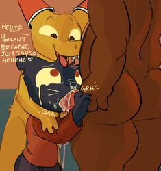 angus_(nitw) bear blue_fur brown_fur canine cups english_text feline feline fellatio female forced fox fur gregg_(nitw) mae_(nitw) male male/female mammal night_in_the_woods nude oral red_eyes sex simple_background tears text unknown_artist yellow_fur