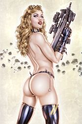 1girl actress armando_huerta artist_name ass bare_shoulders blonde blonde_hair blue_eyes boots breasts celebrity colored covered_breasts dat_ass elbow_gloves eyelashes female female_only glasses gloves goggles gun hips holding_gun holding_weapon human large_breasts legs legwear lipstick long_hair looking_at_viewer makeup model panties porn_star pornstar shoes sideboob signature sniper_rifle solo standing tagme thigh_boots thighs topless weapon