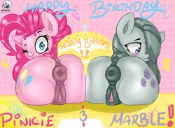 2017 aer0_zer0 anatomically_correct anatomically_correct_pussy animal_genitalia animal_pussy anus ass blush clitoris duo earth_pony english_text equine equine_pussy female friendship_is_magic highres horse looking_at_viewer mammal marble_pie my_little_pony one_eye_closed pink_hair pinkie_pie_(mlp) pony pussy rear_view siblings sisters text