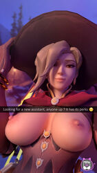 breasts female hair_over_one_eye hat large_breasts looking_at_viewer mercy miaw34 nipples overwatch selfie snapchat solo witch_hat witch_mercy