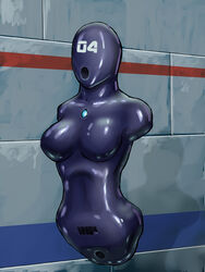 1girl amputee android armless artist_request barcode bdsm bondage brainwashing breasts cyborg faceless female fetish gynoid large_breasts latex legless machine mask open_mouth pubic_tattoo public_use quadruple_amputee robot rubber sensory_deprivation sex_machine skin_tight