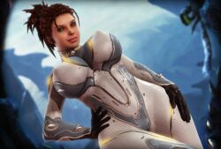 1girl 3d bodysuit brown_hair clothed female female_only green_eyes huge_breasts human rasmus-the-owl sarah_kerrigan starcraft starcraft_2 wide_hips