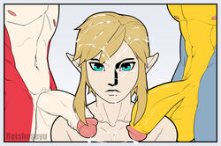 breath_of_the_wild cum cum_on_face group group_sex humanoid humanoid_penis hylian kass_(zelda) link male nintendo penis reishuseyu rito sex sidon the_legend_of_zelda threesome yaoi zora