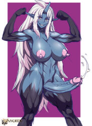 abs blue_skin breasts cyberunique dickgirl erection futa_solo futanari horn intersex large_breasts large_penis long_hair nipples penis pointy_ears solo standing white_hair