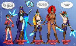 armor arrow big_breasts bow bow_and_arrow breasts breath_of_the_wild comic crossover disc female gerudo hyrule_warriors knife lana midna mind_control mipha nintendo nipples oo_sebastian_oo princess_zelda speech_bubble text the_guardian_girls_of_ganon_(comic) the_legend_of_zelda topless trident twili twilight_princess urbosa zora