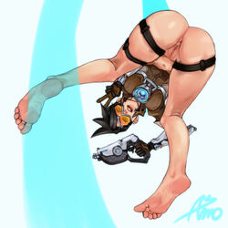 1girl anus asmo ass barefoot bent_over black_hair blizzard_entertainment brown_jacket dat_ass eyewear feet female female_only glasses gloves goggles gun holding_gun holding_weapon jacket leather_jacket overwatch pussy short_hair soles solo toes tracer v weapon