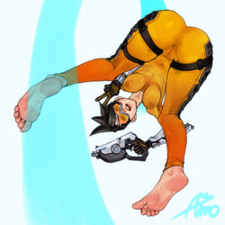 1girl asmo asmo_deus ass barefoot bent_over black_hair blizzard_entertainment bodysuit cameltoe dat_ass eyewear feet female female_only gloves goggles gun holding_gun holding_weapon looking_at_viewer megane navel nipples overwatch pussy see-through short_hair skin_tight soles solo toes tracer v weapon