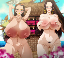 2girls areola bimbo black_hair blue_eyes blush boa_hancock breasts cleavage ero-enzo eyeshadow female huge_ass huge_breasts lipstick makeup multiple_girls nico_robin nipples one_piece presenting take_your_pick thick_thighs voluptuous wide_hips