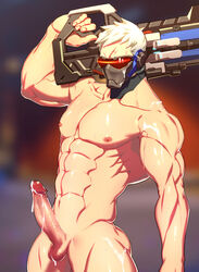 1boy abs assault_rifle balls bara eye_scar face_mask facial_scar gun highres lvlv male male_only mask muscles nipples overwatch pecs penis rifle scar short_hair soldier_76 solo sweat visor weapon