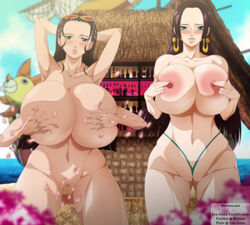 2girls areola bikini bimbo black_hair blue_eyes blush boa_hancock bone_hurting_juice breasts cleavage ero-enzo female hana_hana_no_mi huge_ass huge_breasts multiple_girls nico_robin nipples one_piece presenting swimsuit take_your_pick thick_thighs voluptuous wide_hips