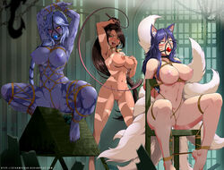 3girls ahri animal_tail areolae arms_above_head arms_behind_back arms_up ball_gag big_breasts bondage breasts chair chair_bondage female female_only femdom femsub gag large_breasts league_of_legends lezdom multiple_girls multiple_subs nidalee nipples nude pussy restrained shyvana stormfeder whip wooden_horse