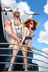 areolae breasts doctorproxy erect_nipples female from_behind gangplank league_of_legends male miss_fortune nipples pool_party_miss_fortune sex straight