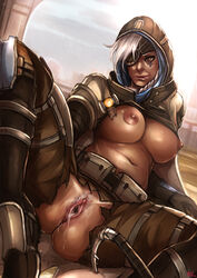 1girl after_sex ana_amari artist_name ass belly belt belt_pouch black_gloves blizzard_entertainment boots breasts brown_eyes brown_lipstick cameltoe cape cloak clothed clothed_female clothes commentary covered_eyes covered_nipples crotchless_pants cum cum_in_pussy cum_on_body cum_on_lower_body dark-skinned_female dark_skin dripping_cum erect_nipples eye_of_horus eye_patch eyepatch facial_tattoo female female_only female_pubic_hair footwear gilf gloves high_resolution hijab hips hood hook human kachima knee_boots large_breasts legs licking_lips lips long_hair mature milf naughty_face navel nipples old_woman overwatch pants planted_weapon pubic_hair pussy see-through shirt_lift shoes signature silver_hair solo spread_legs tattoo thigh_boots thighs tight_pants tongue tongue_out torn_clothes torn_pants underboob vagina very_high_resolution video_game video_games weapon white_hair