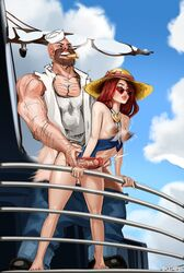 areolae breasts doctorproxy erect_nipples erection female from_behind gangplank league_of_legends male miss_fortune nipples penis sex straight x-ray