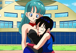 2girls aqua_hair arm art bare_arms bare_shoulders black_hair black_leotard blue_eyes breast_smother breasts bulma bulma_briefs bunnysuit chichi cleavage closed_eyes closed_mouth detached_collar dicasty dragon_ball dragon_ball_z female grin head_between_breasts hourglass_figure hug human large_breasts leotard lipstick long_hair milf multiple_girls neck outdoors parted_lips sleeveless smile standing strapless strapless_leotard teal_hair voluptuous yuri