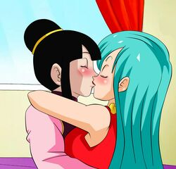 2girls aqua_hair arm art bare_shoulders black_hair blush bulma_briefs chichi chinese_clothes closed_eyes dicasty dragon_ball dragon_ball_z dress duo female female_only french_kiss hair_bun highres hug indoors kiss kissing lipstick long_hair long_sleeves milf multiple_girls mutual_yuri red_dress romantic short_hair sleeveless sleeveless_dress upper_body window yuri