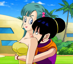 2girls aqua_hair art bare_shoulders black_eyes black_hair blue_eyes bracelet breasts bulma bulma_briefs chichi cleavage closed_mouth dicasty dragon_ball dragon_ball_z duo earrings eye_contact female female_only hair_bobbles hair_bun hug hug_from_behind human jewelry kissing large_breasts lips lipstick lipstick_mark long_hair looking_at_another looking_back makeup milf multiple_girls mutual_yuri naughty_face neck neck_kiss outdoors red_lipstick short_hair side_ponytail sleeveless smile standing strapless tubetop upper_body yellow_tubetop yuri